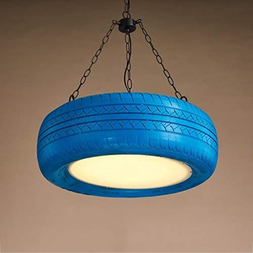 Loft retro-banden, rubber, kleurrijk, kroonluchter, restaurant, loft, industrieel licht, hoge helderheid, creatieve led-chips, plafondlamp, verstelbaar, ijzer (kleur: blauw).