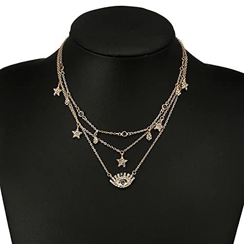 SALAN Collar Multicapas para Mujer, Cadena Larga, Collares con Colgante De Ojo Turco, Collares De Gotas De Agua De Estrella De Cristal De Moda