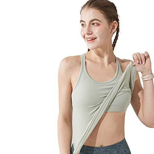 Yoga Racer Back Tank Top for Women with Built in Bra,Women's Padded Sports Bra Fitness Workout Running Shirts (Grayish Green, Medium)
