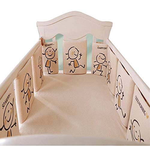 6 Piece Set Thicken Breathable Crib Bumper Pad Rail Guard Cover Vertical Crib Liners Boys Girls, Bed Safety Rail Protector Teething Guard, Anti-Collision Cushion Fence Pillow-A1