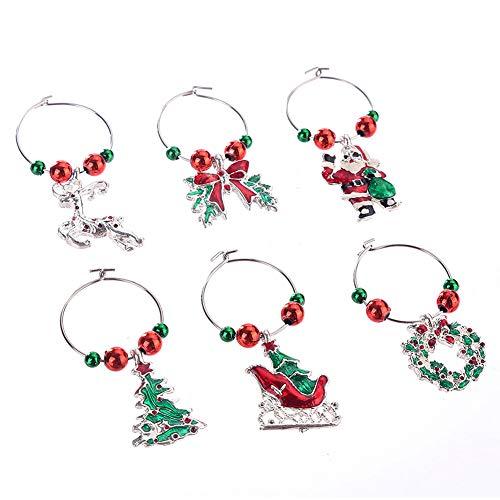 Jeerbly - Set di 6 anelli di Natale per bicchieri di vino, decorazione per la tazza di vino, per feste, Capodanno, Natale, decorazioni per la casa