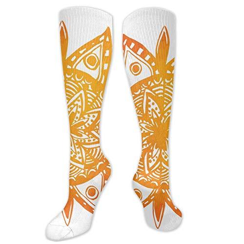 Calcetines novedosos, estilo acuarela dibujado a mano con diseño de mandala étnico tribal estampado asiático, calcetines divertidos para mujer, calcetines de algodón para mujer