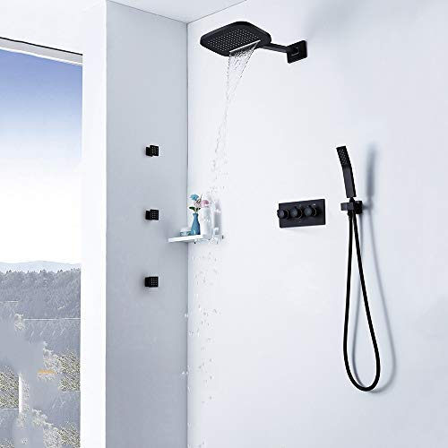 Best Deals! Zhengtufuzhuang Wall-Mounted Copper Two-Function Flying Rain Cascade Shower Set Black Da...