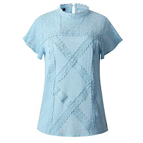 Damska bluzka Elegancki motyl z krótkim rękawem koronki patchwork T-shirt casual luźne okrągłe szyi damskie topy (Color : Blue, Size : XL)