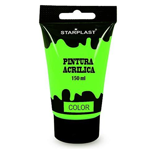 Starplast, Pintura Acrílica, en tubo, 150 ml, Lavable, para pintar sobre Lienzo, Madera, Cerámica, Plástico, Verde Flúor