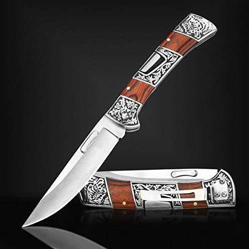 NedFoss Taschenmesser Klappmesser, zweihandmesser mit Gürtelclip, Angelmesser mit Back Lock, für Outdoor Camping, In schönes Design