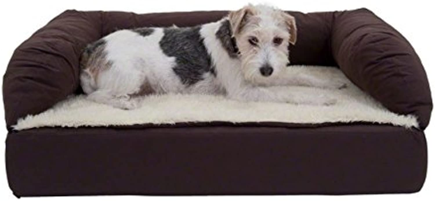 Comfortable Orthopaedic Dog Bed  Brown   Beige  A Memory Foam Dog Bed that Predects your Dog's Joints Ideal for Senior Dogs (S  75 x 50 x 25 cm L x W x H)