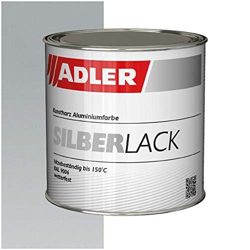 ADLER Silberlack für Holz & Metall - 750 ml - Innen & Außen - Seidenglänzender Silber Effekt - Umweltfreundlich, Wetterfest & Hitzebeständig mit starkem Rostschutz