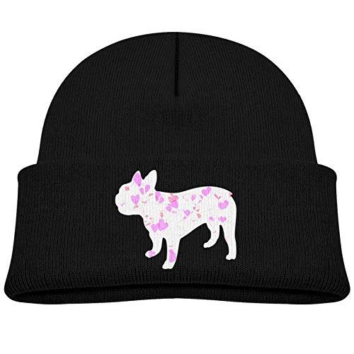 Baby Boy Newborn Beanie Hats French Bulldog Heart Winter Warm Cotton Cap for Kids Girls Black