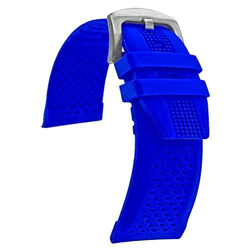 Correa de reloj de silicona impermeable de calidad, banda de reloj de goma suave, azul - 24 mm