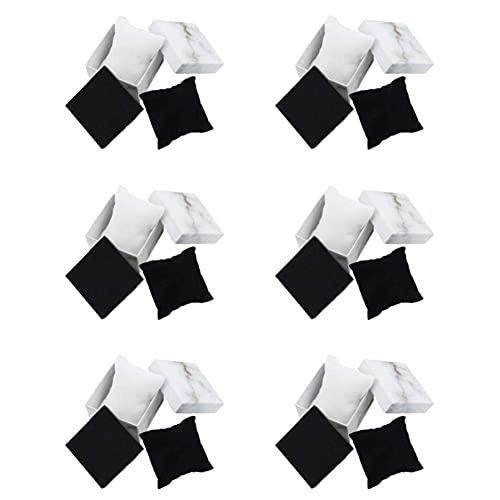 SMEJS 6 PCS Joyero Cajas de cartón Organizador cuadrado Exhibidor de regalo con tapa Estuche de mármol blanco para anillos Pendientes Collares Pulseras colgantes Aniversarios Bodas o cumpleaños