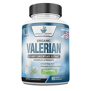 Valerian Root Capsules Organic 1800mg Natural Sleep Aid Sleeping Pills for Adults Better Than Melatonin Gummies 90 Veggie Caps 3 Month Supply