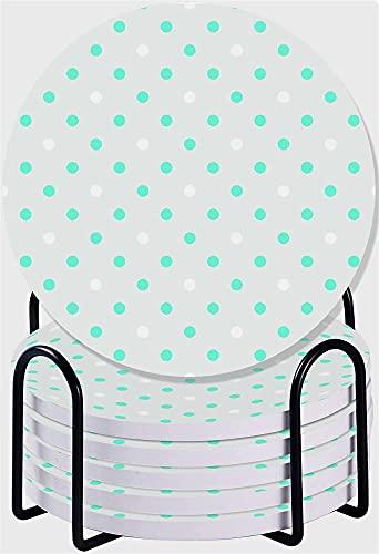 RENYC Posavasos Posavasos para Bebidas, Conjunto de montaña de Piedra cerámica Absorbente con Soporte para Soporte de Metal, Conjunto de 6 (Color : #13)