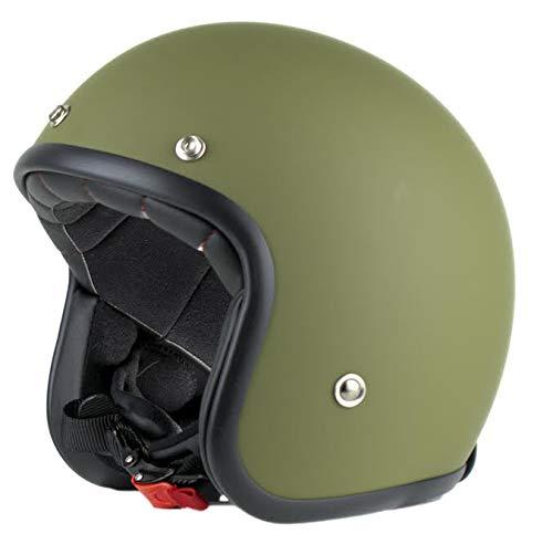 Casco moto jet Pendejo di Iguana Custom Collection verde militare, prefetto stile retrò per cafe racer, bobber, chopper, vespa o classic. (L)