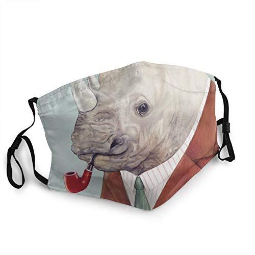 Gesichts_Maske, Nashorn, Tiermotiv, atmungsaktiv, waschbar, wiederverwendbar, Mundschutz, Bandanas für Damen und Herren