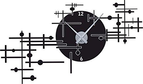 GRAZDesign 800154 Wandtattoo klok wandklok modern industrieel ontwerp voor de woonkamer | zelfklevende folie Uhrwerk silber 070, zwart