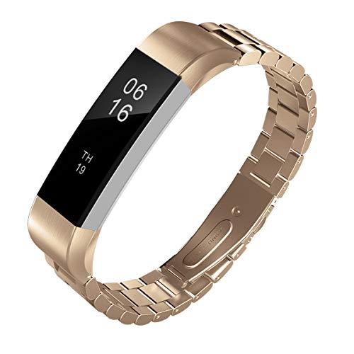 TiMOVO Armband für Fitbit Alta/Alta HR, Edelstahl Uhrenarmband Ersatzarmband Handgelenk Strap Band mit Werkzeug - Rose Gold