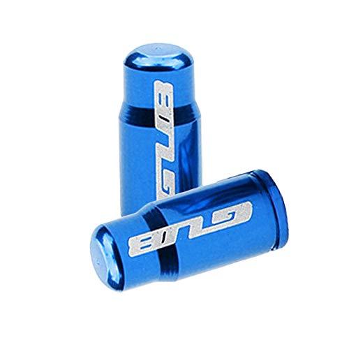 Par de tapa de válvula de neumático de bicicleta de aleación de aluminio para Presta francés/Schrader boquilla americana tapa de vástago de neumático - FV azul