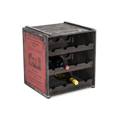 Pureday Weinregal Weinkiste Claire stapelbar Shabby Chic Holz ca. B36 x T32 x H39 cm - Rot