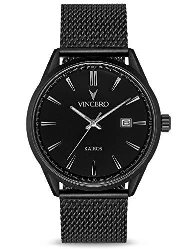 Vincero Kairos Herren Armbanduhr - 42 mm Analoguhr Stahlgewebe - Japanisches Quarz Uhrwerk (Mattschwarz)