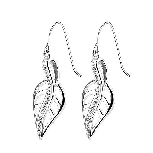 eeddoo® Damen Ohrringe aus Edelstahl im Design geschwungenes Blatt mit Kristallstreif ((1) Silber)