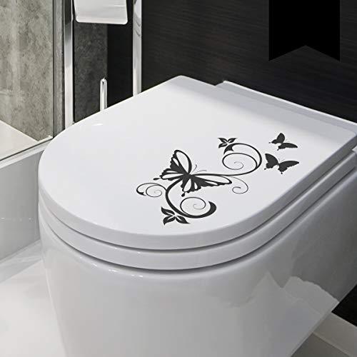 Wandkings WC Deckel Schmetterling Ranke Aufkleber 30 x 16 cm schwarz - erhältlich in 33 Farben