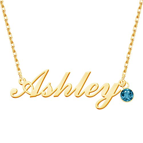 Misstrend Name Necklace Personalized, 18K Gold Plated Customized Nameplate Necklace Dainty Charm Jewelry for Women