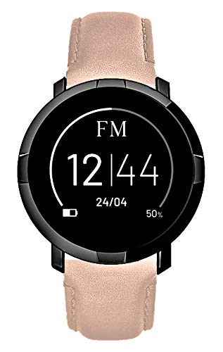 Florence Marlen FM1R Smartwatch voor heren en dames, leren armband, bluetooth-touchscreen, waterdicht, hartslagmeter, stappenteller, melding, FM iOS en Android, PINK