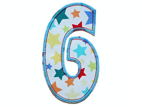 Geburtstagszahl 6 Zahl, Höhe 15 cm, Applikation XL Aufbügler zum Geburtstag