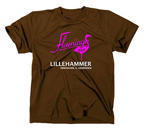 Lillehammer Lilyhammer Flamingo Bar Logo T-Shirt, XXL, braun