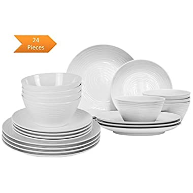 Parhoma White Melamine Home Dinnerware Set, 24-Piece Service for 8 people