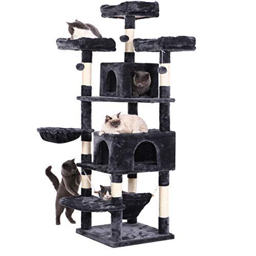 BEWISHOME Cat Tree 66.3 Inch Multi-Level Large Cat Tower with Plush Top Perches, Sisal Scratching Post Cat Play house Kitty Activity Center MMJ14H