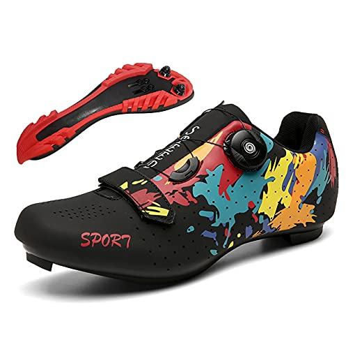 RTY Zapatillas de Ciclismo MTB, Spin Shoestring con Tacos compatibles, Zapatilla Peloton...