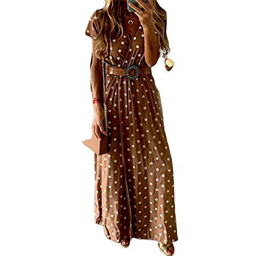 YuJian12 Sexy Frauen Sommerkleid Boho Lange Maxi Kleider Abendgesellschaft Kleidung Frauen Strandkleid Sommerkleid Polka dot Print Damen Dress-in Kleider von Frauen Wie das Foto zeigt