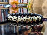 LOVE KUSH JEWELRY Cruella de Vil Edition, DALMATIAN Jasper + Volcanic Lava bead bracelet for MEN (Stretch) 10mm