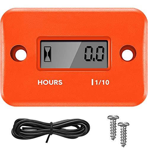 Induktive Betriebsstundenzähler Digitale Motoranzeige Automatisch Herunterfahren Drehzahlmesser Kleine Drehzahlmesser für Motorrad Rasenmäher Generator Kettensägen (Orange)