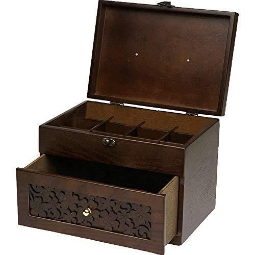 Umora薬箱 救急箱 木製 2段 仕切り 応急処置 アンティーク調 大容量 小物入れ