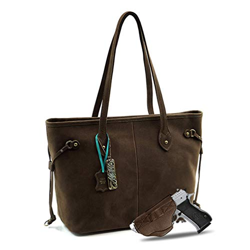 Large Real Leather Concealed Carry Tote Bag For Women Shoulder Handbag Fashion CCW Purse With Gun for women Holster (Coffee) MWUSA MWL-G002CF