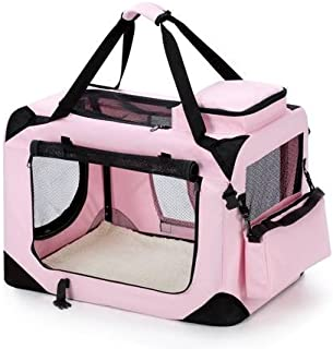Portable Foldable Soft Dog Crate-Medium-Pink Dog Carrier Bag