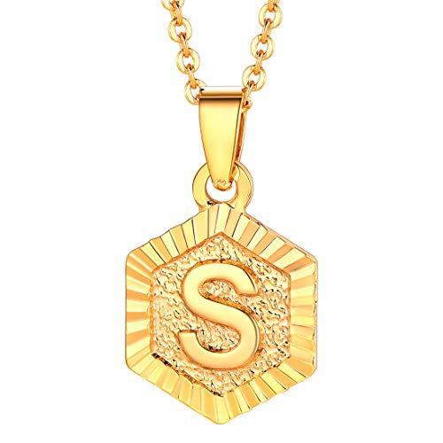 U7 イニシャルネックレスS ゴールド 小さめ ペンダントトップ レディース k18金メッキ 六角形 大人可愛い 母の日プレゼント