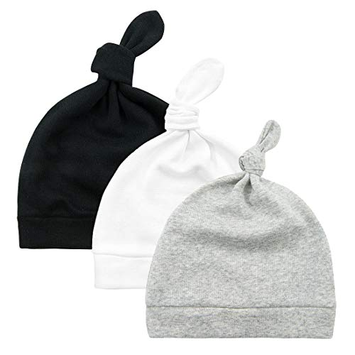 Durio Baby Hats Knot Baby Beanie Newborn Baby Boy Hat Soft Baby Girl Beanies Gifts for Baby Newborn Fall Winter Caps 3 Pack Black & White & Grey One Size Fits 0-6 Months