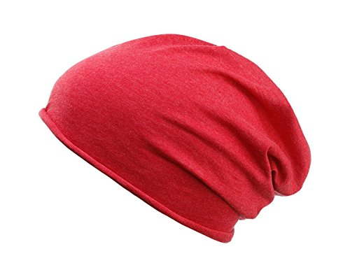 MYRTLE BEACH Bio Cotton Beanie in carmine-red-melange Taille: Taille unique