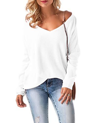Mikos* Damen Frauen Off Shoulder Langarm Frühling Sommer Pullover Strickpullover Pullover Baggy V-Ausschnitt (694) (Weiß)
