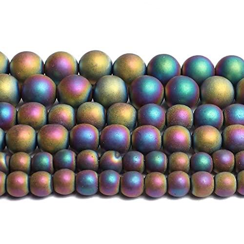 YELVQI Borla Piedra Natural Dorado Color de Plata Hematita Redonda Perlas Sueltas para la fabricación de Joyas Accesorios de Pulsera de Bricolaje 15 '' 2/3/4/6/8/10 / 12mm