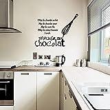 Etiqueta Engomada Francesa Gourmet Vinilo Etiqueta De La Pared Calcomanía Mousse Chocolate Mural Azulejo Arte De La Pared Cocina 58X44 Cm