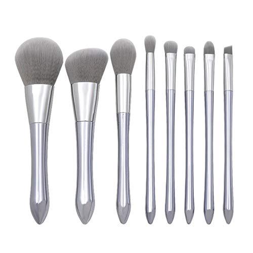 Biubo Pinceaux De Maquillage, Applicateurs De Maquillage 8 Pcs Moonlight Silver Small Pretty Waist Handle Loose Stucco Makeup Brush Set