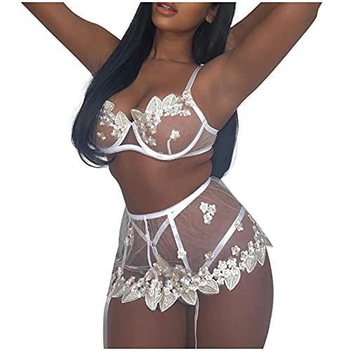 Beudylihy Conjunto de lencería sexy de 3 piezas para mujer, lencería soluble en agua, con bordado de flores, sujetador con aros + tanga + liguero push up blanco L