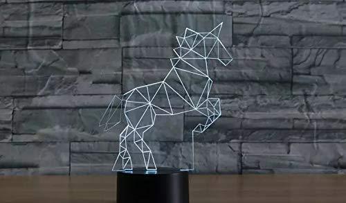 Art unicorn Pegasus acrílico lámpara de mesa multicolor lámpara de mesa 3D niños LED luz de noche decoración regalo