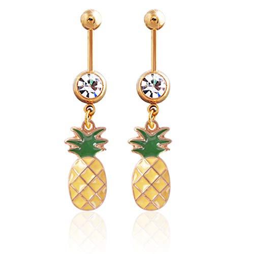 Acero Inoxidable Diamante de imitación Piña Anillo de Ombligo Kit de perforación del Vientre Joyas Amarillo