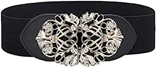 Elastic Waist Belt Black Vintage Wide Band Waspie Belt Leather Waistband